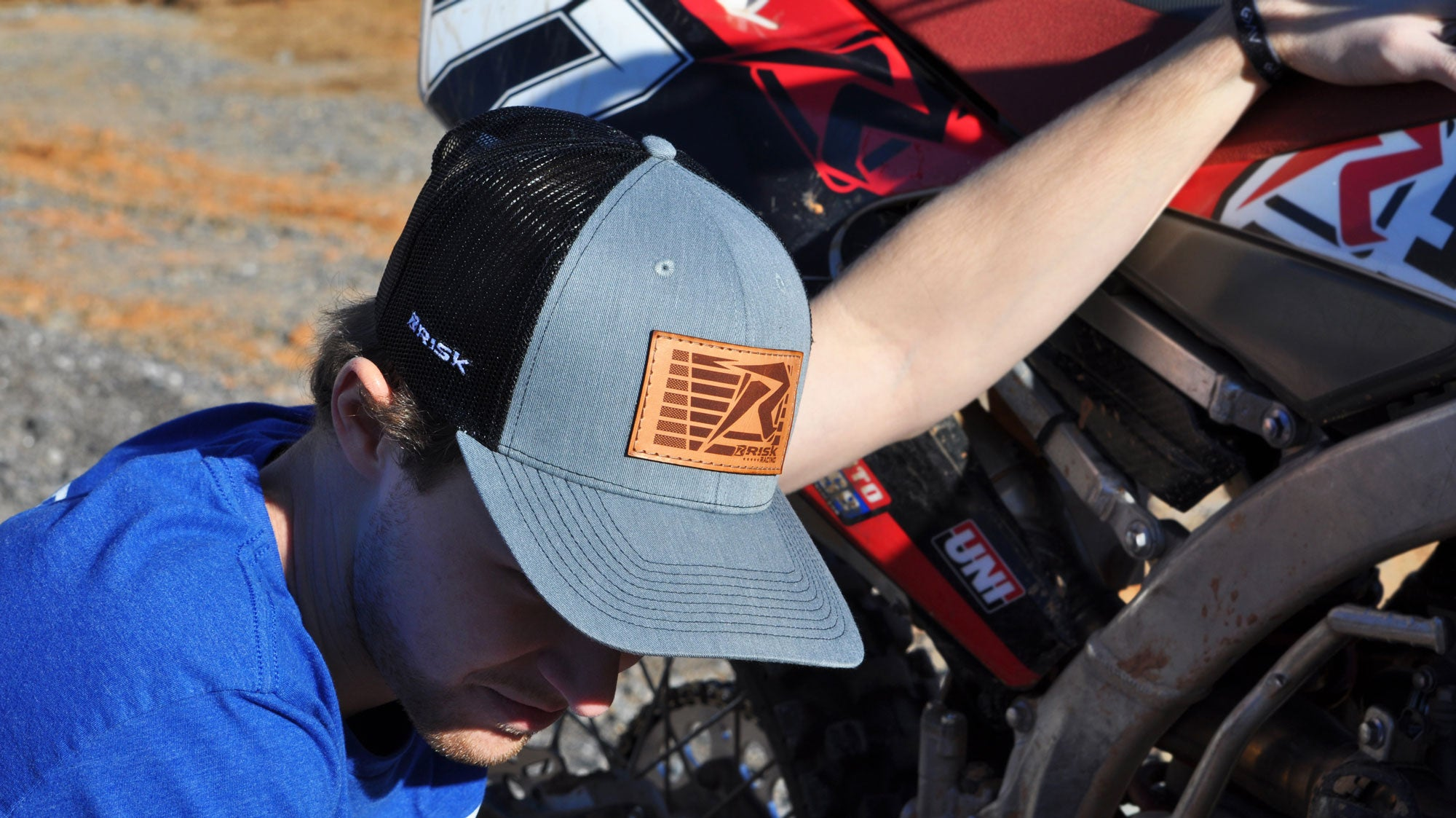 Risk Racing Gray Leather Patch Trucker Snapback Hat