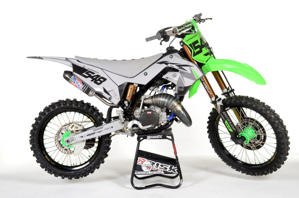 mx bike num 548 sitting on an ATS adjustable top magnetic motocross stand by Risk Racing
