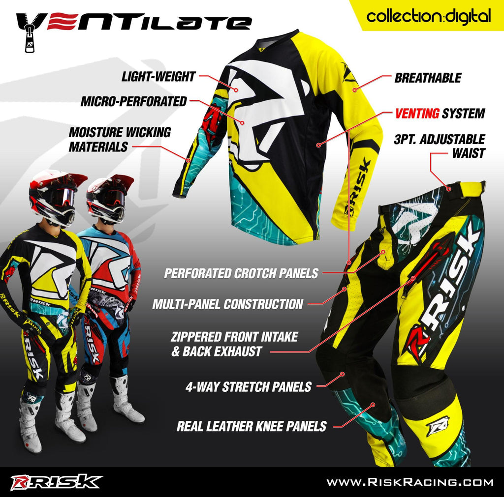 ventilate motocross jerseys and pants poster by Risk Racing including bullet points and 2 color options