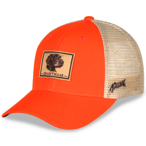 Drahthaar Dog Patch Blaze Orange and Mesh Hat with Velcro Closure