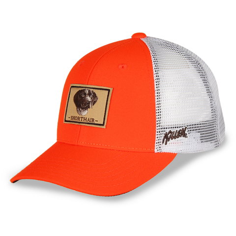 Shorthair Blaze Orange Twill with White Mesh Hunting Dog Hat