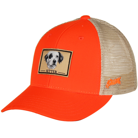 Blaze Orange Setter Dog Patch Hat with Velcro Closure