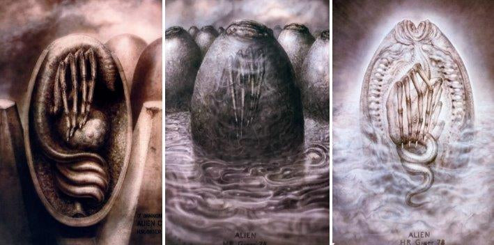 H.R Giger Alien egg concept drawing