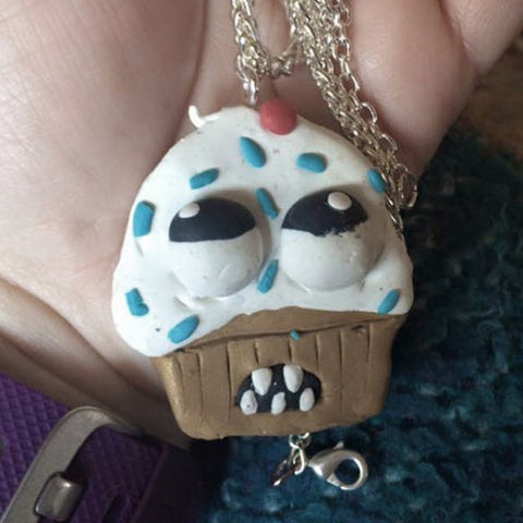 handmade ugly cupcake necklace