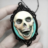happy death skull cameo necklace