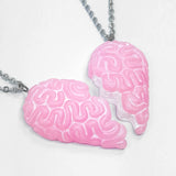 brain heart necklace set pink candy