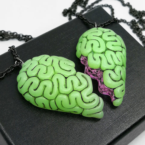 brain heart bff necklace set monster blood green