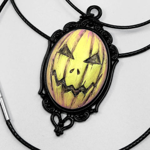 halloween pumpkin cameo necklace yellow