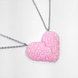 brain heart best friends necklace set pink