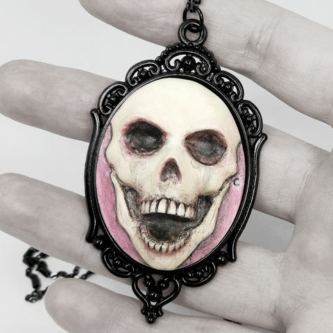 pink happy death skull cameo necklace