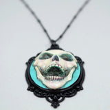aqua skull necklace