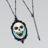 aquamarine happy skull necklace