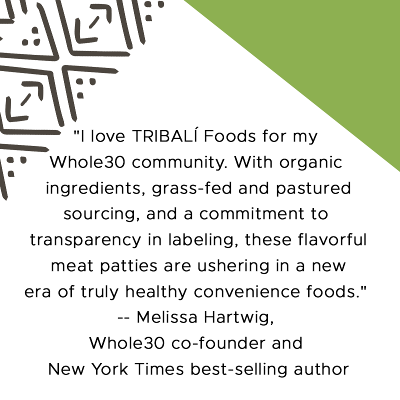 A testimonial for Tribali foods