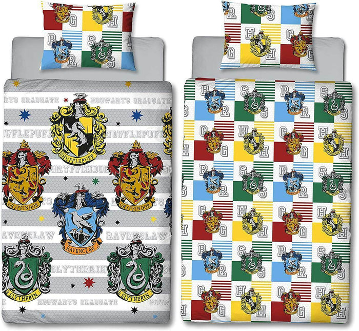 Harry Potter Single Bedding | Hogwarts House Crest Bedding Harry Potter