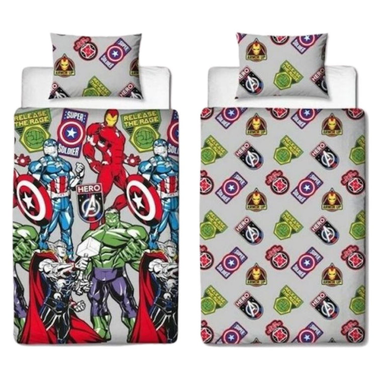 Marvel Avengers Stickers Bedding - Single