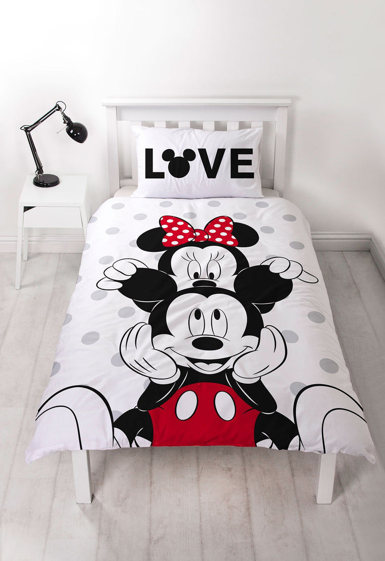 Mickey and Minnie Mouse Single Bedding