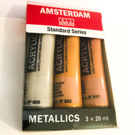 Amsterdam Acrylfarbe Set 3x20ml Metallics