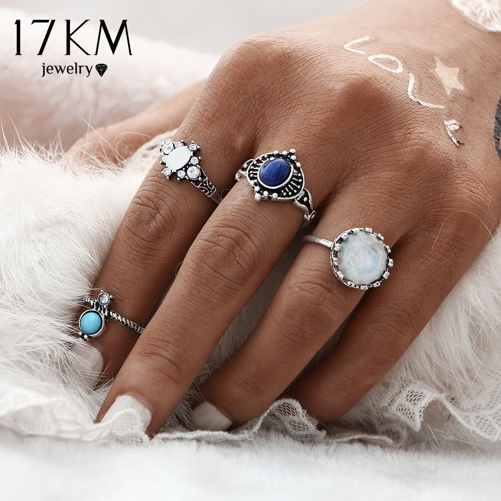 4Pcs/set Silver Color Stone Midi Ring Sets for Boho Style Boho Beach Vintage Turkish Punk Knuckle Ring Jewelry - Gisselle Morales