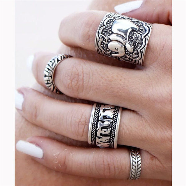 Bohemian Style 4pcs/Pck Vintage Anti Silver Color Rings Elephant Totem Leaf Lucky Rings Set for Boho Style Gift - Gisselle Morales