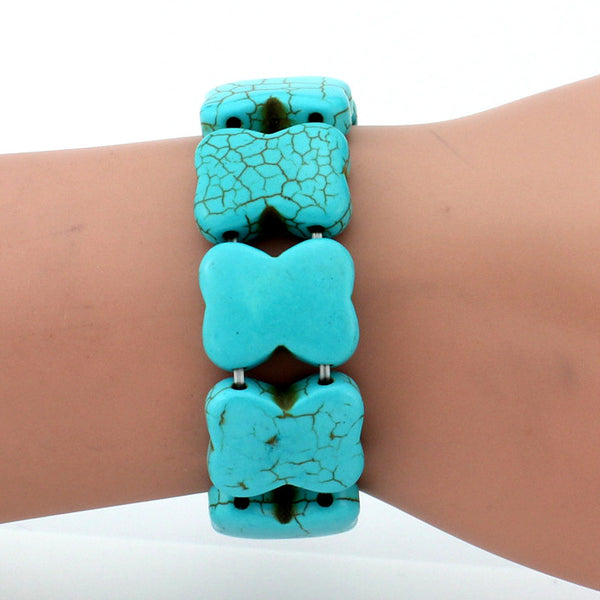 Retro Bohemian Turquoise Beads Elastic Bracelet Fashion Design Adjustable Boho Style Jewelry