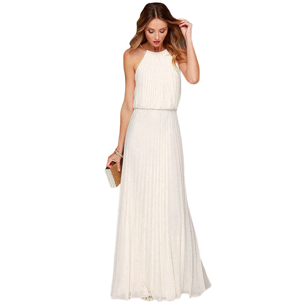 Boho Dress Summer Sexy Dress Bohemian Style Sleeveless Floor Length Casual Long Dresses Boho Style Chiffon Halter Jurkjes