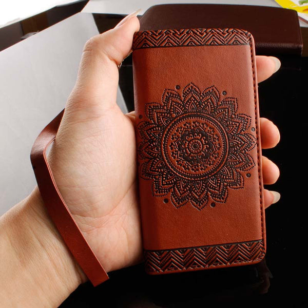 Retro Flip Leather Wallet Style Phone Cases For iPhone 7 6 6S Plus 5 5S SE Cover Luxury Mandala Henna Floral Flower Pattern Capa - Gisselle Morales