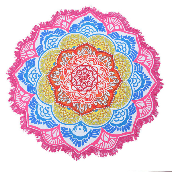 150cm x 150cm Tassel Indian Mandala Yoga Mat Beach Towel Cover - Up - Gisselle Morales