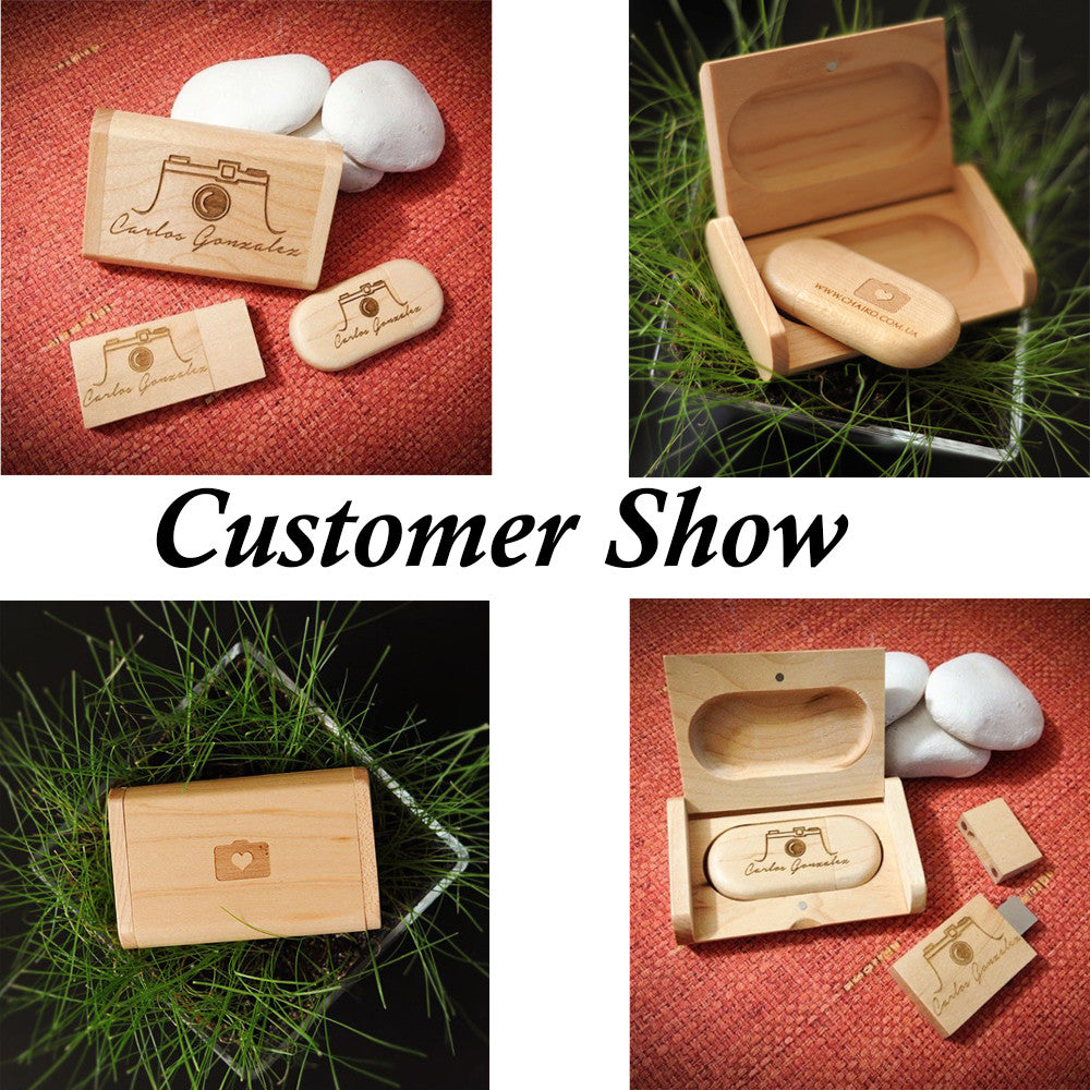 Customized Wooden Wood DIY logo USB Memory Flash Stick Pen Drive Pendrive Wedding photography Birthday Gift Over 20Pcs Free Logo