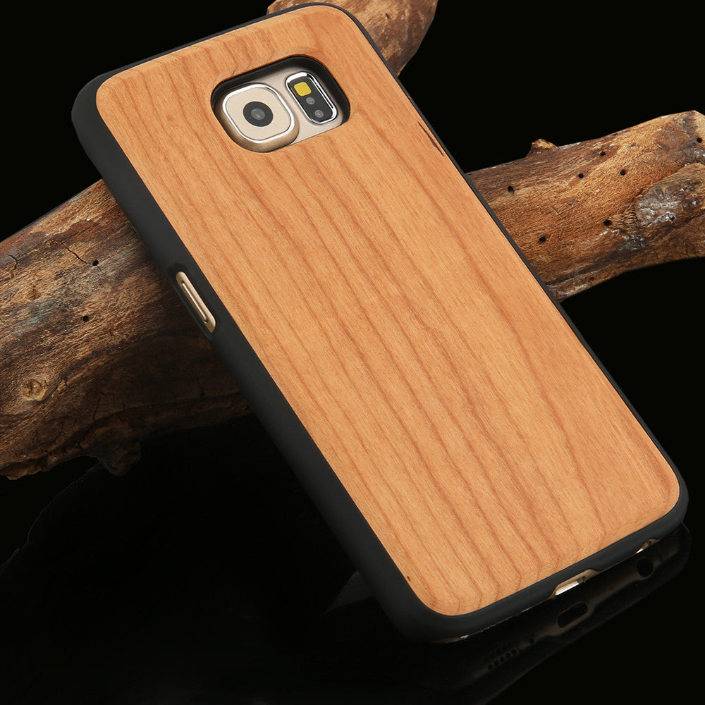 Real Wood Phone Cases For Samsung Galaxy S6 S6 edge Natural Rosewood Cherry Carbonized bamboo Wooden Case Hard PC Back Cover New
