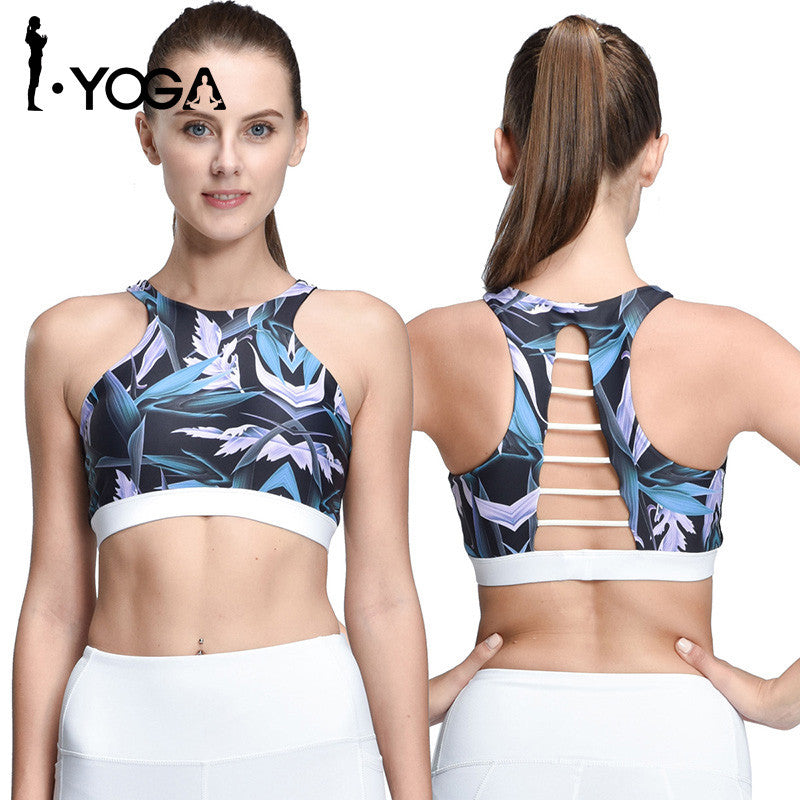 Rushed Strappy Bra Cropped Boho Style Yoga Bra Athletic Built-in Pad Sports For Push Up Tank Top For Girls Ropa Deportiva