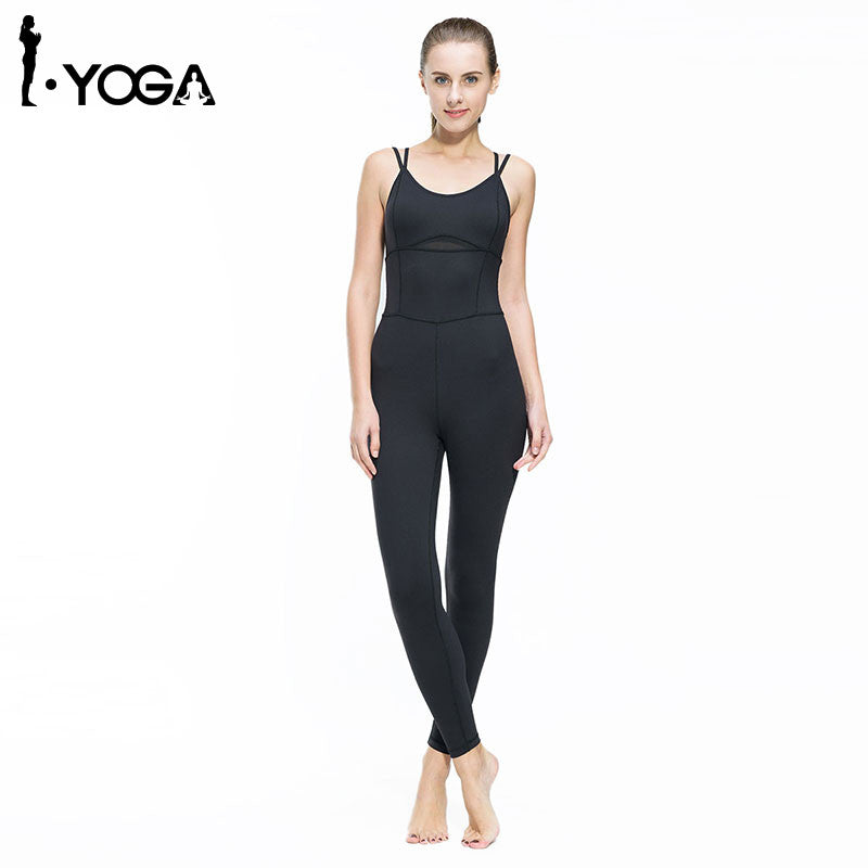 Fitness Boho Style Yoga Jumpsuit Gym Running Sports Suit Lady Tight Clothing Breathable Quick Dry Sportswear Sets Patchwork Tracksuit
