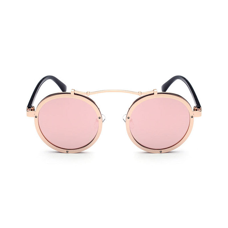 New Gothic Steampunk Boho Style Sunglasses Boho Style Coating Mirrored Super Star Sunglasses Round Circle Sun glasses - Gisselle Morales