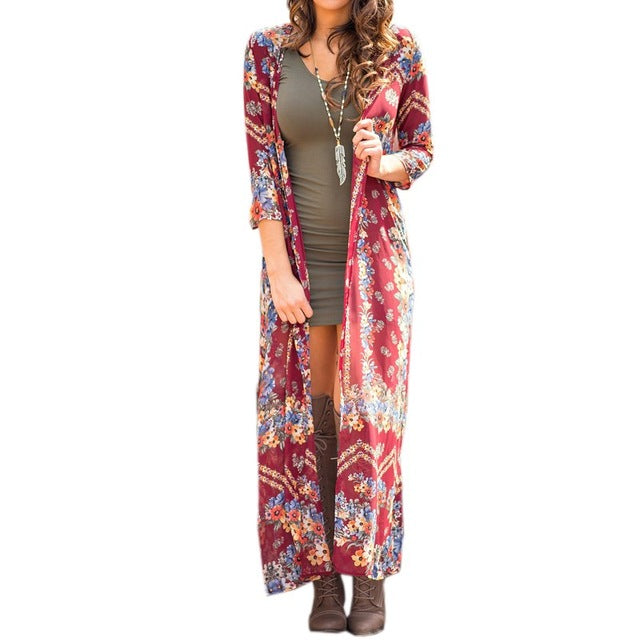 Summer Boho Style 3/4 Sleeve Floral Print Ethnic Retro Long Jacket Cardigan Boho Beach Cover-up Tops Open Front Chiffon Kimono