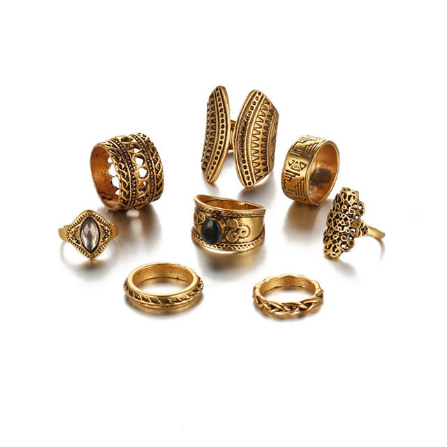 8 PCS/ set Vintage Midi Ring Sets - Gisselle Morales