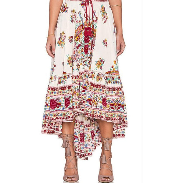 2018 Summer Skirts Boho Styles Ladies Boho Tribal Floral Printed Skirt Chiffon Long Asymmetric Pleated Casual Beach Wear Maxi Skirt