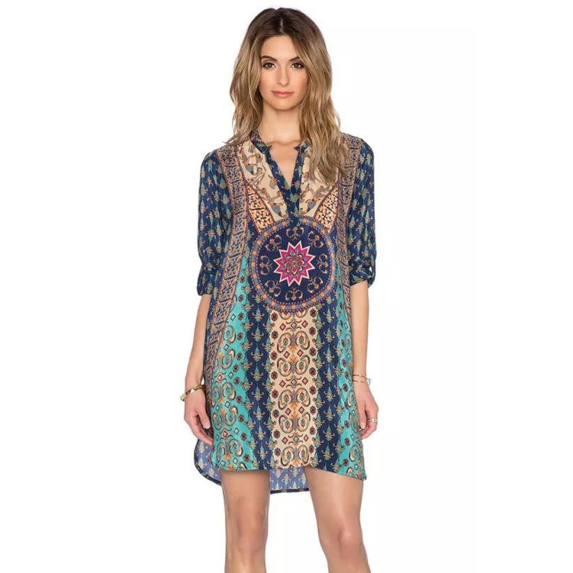 Boho Dress Newest Fashion Hippie Boho Style Blue Bohemian Neck Tie Vintage Printed Ethnic Style Summer Shift Dress LSIW
