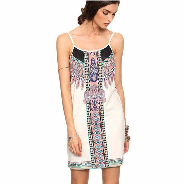 Boho Dress Boho Style Bohemian Dress Sleeveless High Quality Sling National Wind Print White Dress Beach Dress LSN - Gisselle Morales