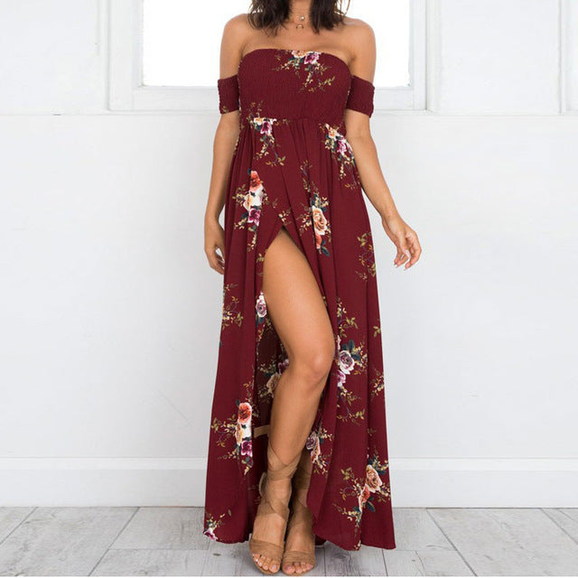 Boho Style 2018 Strapless Short Sleeve Slash Neck Long Dress