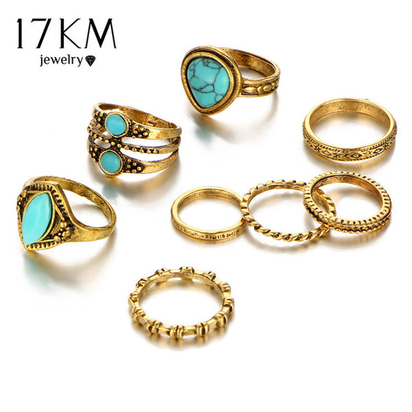 Boho Hippie Natural Stone Knuckle Ring Set - Gisselle Morales