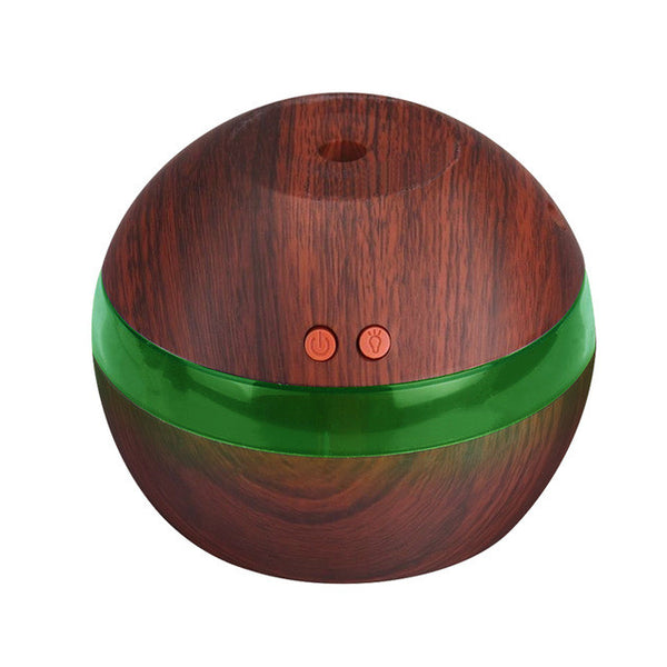 USB Ultrasonic Humidifier, 300ml Aroma Diffuser Essential Oil Diffuser Aromatherapy Mist Maker with 7 Color LED Light Wood grain - Gisselle Morales