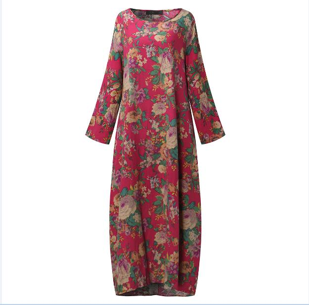 Floral Print O-Neck Long Sleeves Maxi Dress With Pockets