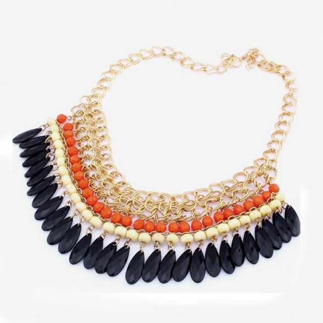 new Bohemian Hot Vintage Layered Beads Tassel Choker Bib Gold Necklace