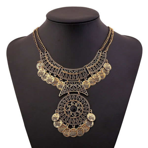 SUSENSTONE Women Bohemian Festival Jewelry Double Chain Coin Statement Necklace Punk Rock Style Necklace Indian Ethnic Necklace - Gisselle Morales