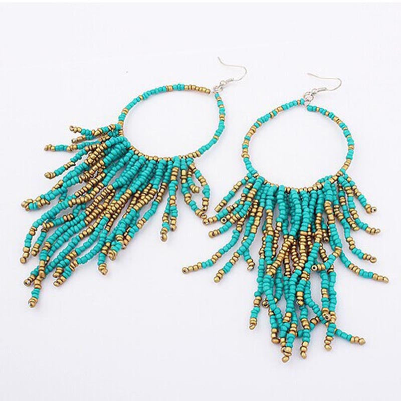 Long Earrings For Boho Style Fashion Bohemian Fringed Long Section Of Big Beads Pendant Drop Earrings - Gisselle Morales