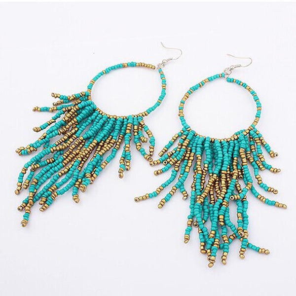 Long Earrings For Boho Style Fashion Bohemian Fringed Long Section Of Big Beads Pendant Drop Earrings