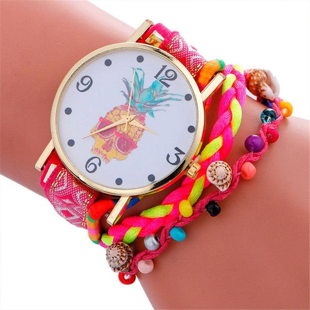 Boho & Hippie Style Watch Pineapple Print Wrist Watches - Gisselle Morales