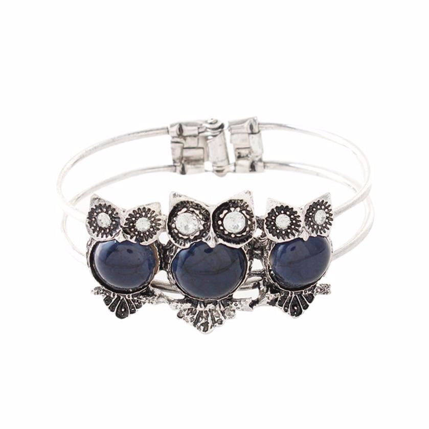 Owl bracelet Bohemian Style Retro Cute Owl Plating Lady Bracelet with Colorful stones female gift 1 PC Bracelet - Gisselle Morales