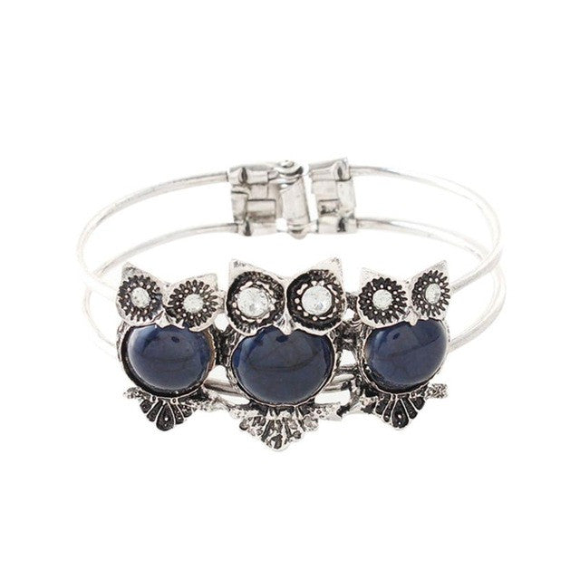 Owl bracelet Bohemian Style Retro Cute Owl Plating Lady Bracelet with Colorful stones female gift 1 PC Bracelet