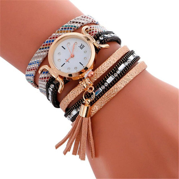 Boho Style Watch Boho Style 2018 New Fashion Pendant Leather Bracelet Watch Lady Womans Quartz Wrist Watch For Boho Style relogios #704 - Gisselle Morales