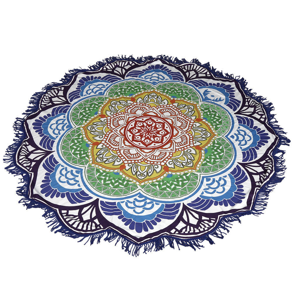 150cm Yoga Mat Printed Round Beach Towel Mandala Blanket Navy, Green & Red - Gisselle Morales